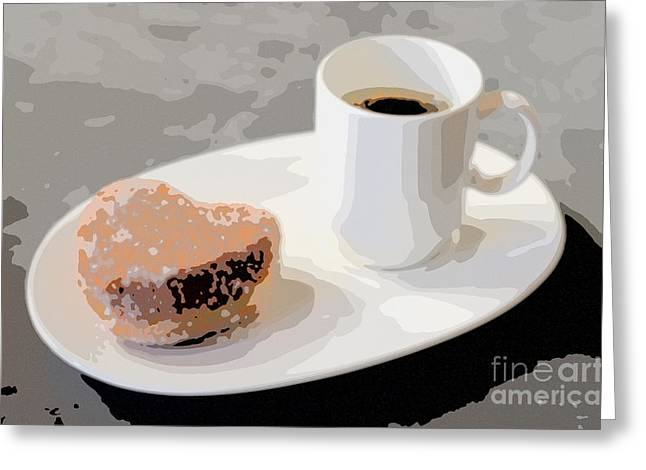 Americano Greeting Cards - Cafe Americano and Heart Shaped Doughnut Greeting Card by Ari Salmela