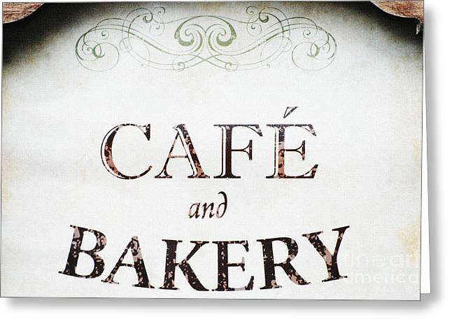Snack Bar Greeting Cards - Cafe and Bakery Sign Greeting Card by AdSpice Studios