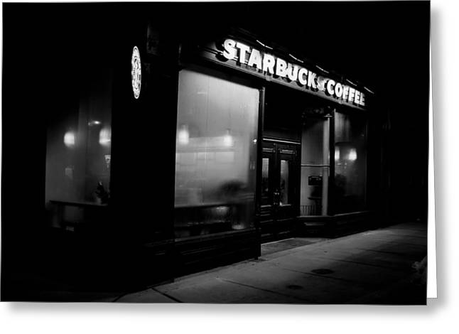 Night Cafe Photographs Greeting Cards - Cafe at Night  Greeting Card by Andrew Fare