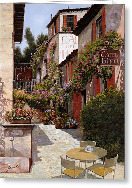 Red Wall Greeting Cards - Cafe Bifo Greeting Card by Guido Borelli