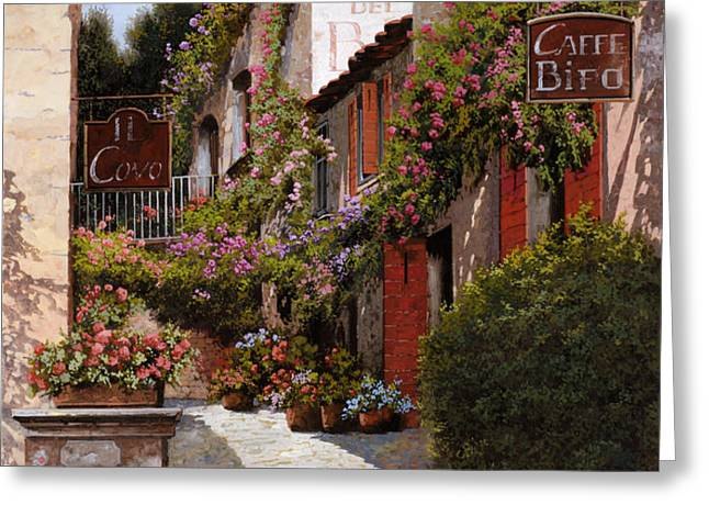 cafe bifo Greeting Card by Guido Borelli