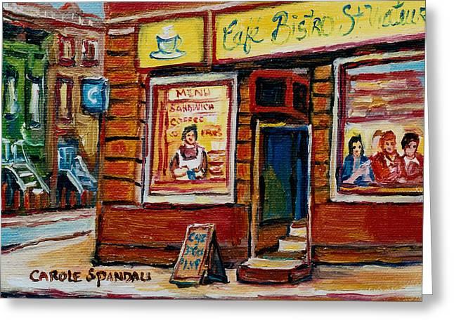 Judaica Greeting Cards - Cafe Bistro St. Viateur Greeting Card by Carole Spandau