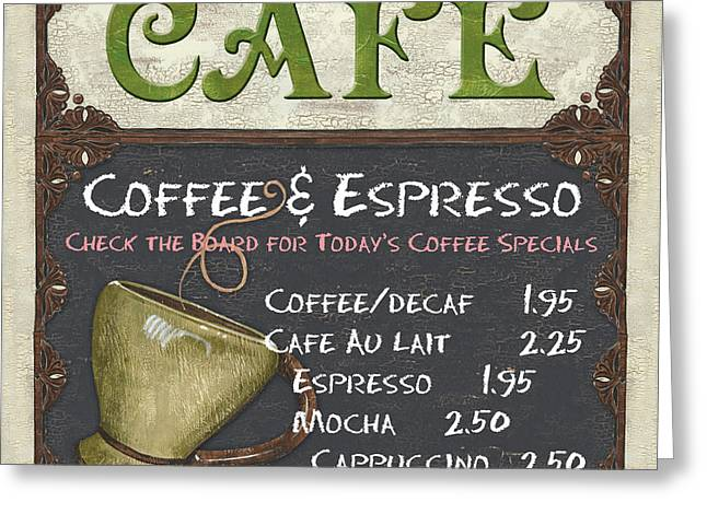 Green Greeting Cards - Cafe Chalkboard Greeting Card by Debbie DeWitt