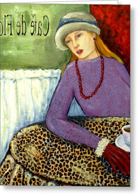Maryann Greeting Cards - Cafe de Flore Greeting Card by MaryAnn Ceballos