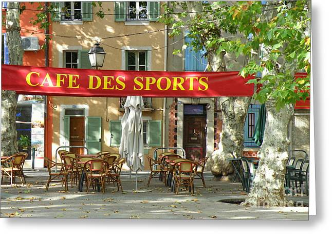 Lainie Wrightson Greeting Cards - Cafe Des Sports Greeting Card by Lainie Wrightson