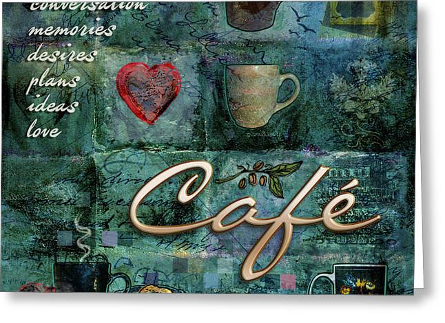 Mug Digital Art Greeting Cards - Cafe Greeting Card by Evie Cook