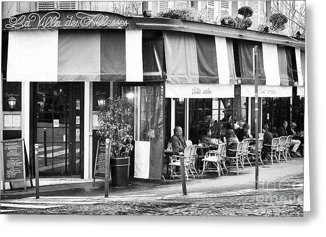 Table And Chairs Greeting Cards - Cafe Exterieur Greeting Card by John Rizzuto