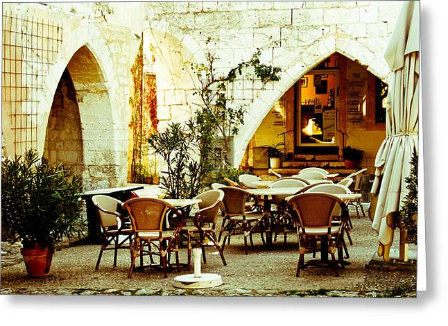 South Of France Greeting Cards - Cafe France Greeting Card by Nomad Art And  Design