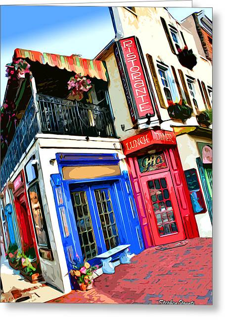 Dinner Digital Art Greeting Cards - Cafe Gia Greeting Card by Stephen Younts