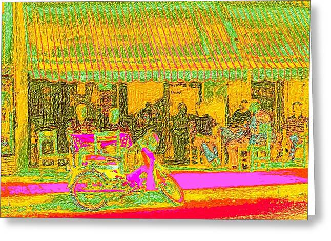 Van Gogh Style Greeting Cards - Cafe in Van Gogh bright style Greeting Card by James Stanfield