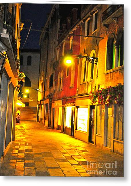 Night Cafe Greeting Cards - Cafe in Venice Greeting Card by Alberta Brown Buller