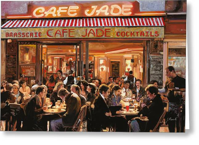 Street Scenes Paintings Greeting Cards - Cafe Jade Greeting Card by Guido Borelli
