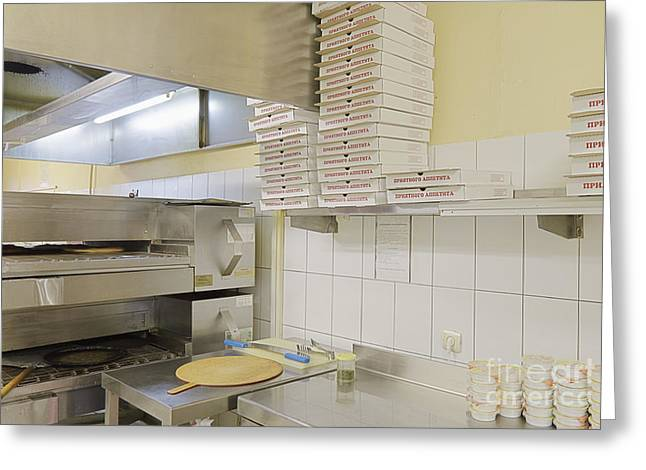 Cardboard Greeting Cards - Cafe Kitchen With Pizza Making Equipment Greeting Card by Magomed Magomedagaev