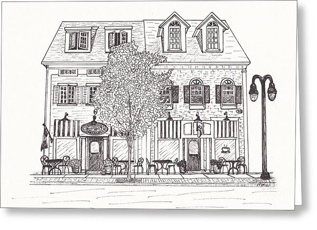 Cafe Mantic Greeting Card by Michelle Welles