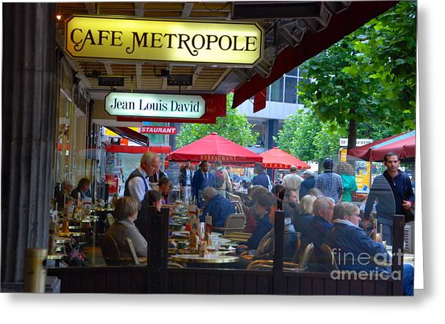 Cafe Metropole Greeting Card by Andrea Simon