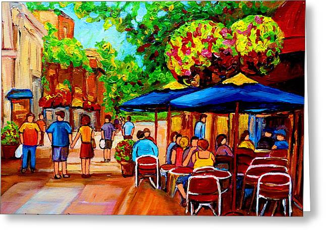 Prince Arthur Street Greeting Cards - Cafe On Prince Arthur  In Montreal  Greeting Card by Carole Spandau
