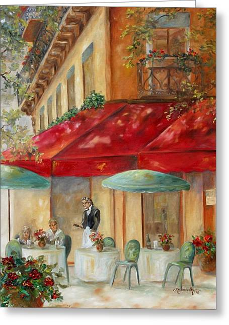 European Cafes Greeting Cards - Cafe Paris Greeting Card by Chris Brandley