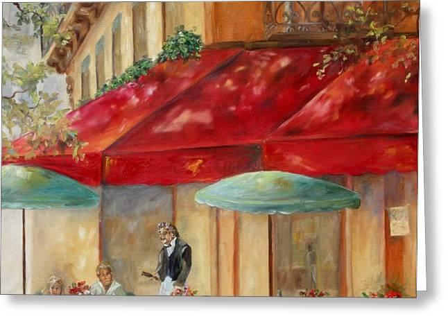 Cafe' Paris Greeting Card by Chris Brandley