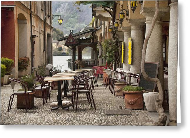 Italian Restaurant Digital Greeting Cards - Cafe San Guilio II Greeting Card by Sharon Foster