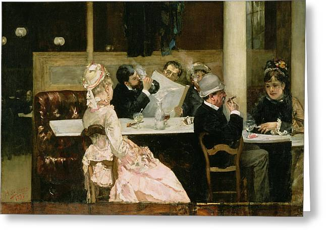 Smoker Greeting Cards - Cafe Scene in Paris Greeting Card by Henri Gervex