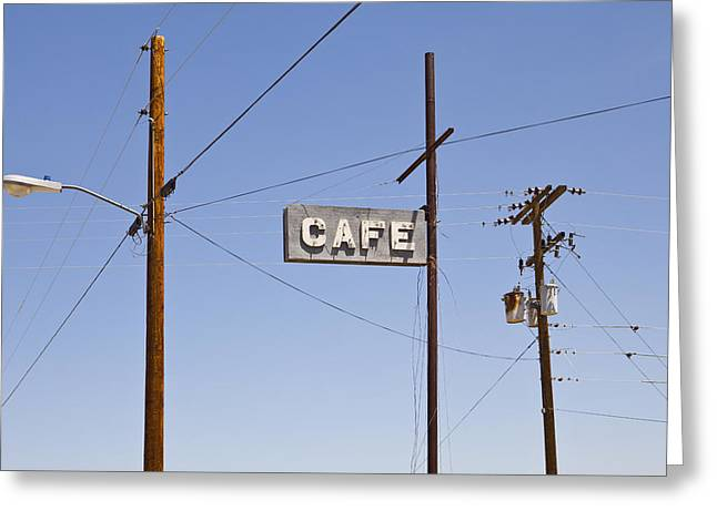 Electrical Equipment Greeting Cards - Cafe Sign Power And Telephone Cables Greeting Card by Bryan Mullennix