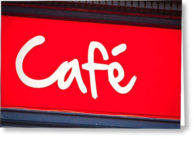 Cafe Sign Greeting Card by Tom Gowanlock