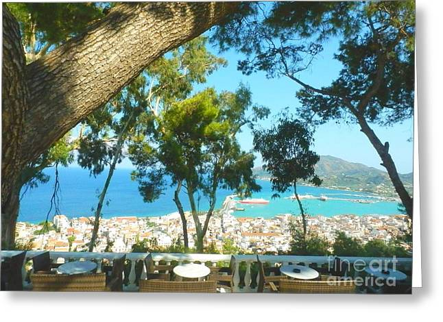 CAFE TERRACE AT BOHALI OVERLOOKING ZANTE TOWN Greeting Card by ANA MARIA EDULESCU