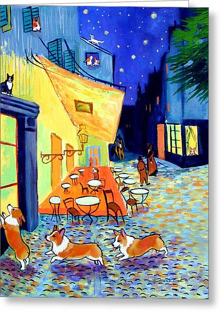 Nature Scene Greeting Cards - Cafe Terrace at Night - after Van Gogh with Corgis Greeting Card by Lyn Cook