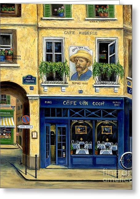 French Shops Greeting Cards - Cafe Van Gogh Greeting Card by Marilyn Dunlap