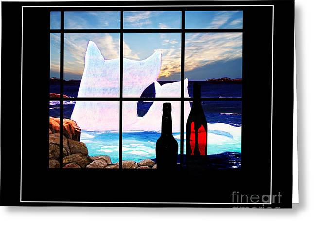 Night Cafe Digital Art Greeting Cards - Cafe Window Greeting Card by Barbara Griffin