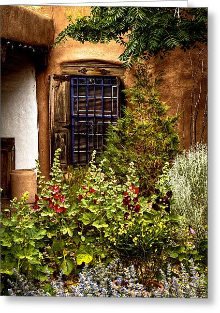 Taos Greeting Cards - Cafe Window Greeting Card by David Patterson