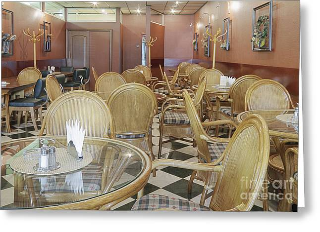 Coat Rack Greeting Cards - Cafe With Rattan Chairs and Tables Greeting Card by Magomed Magomedagaev