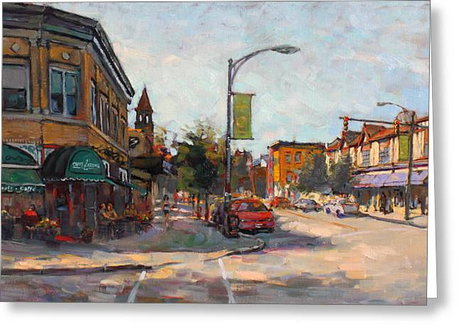 Aves Greeting Cards - Caffe Aroma in Elmwood Ave Greeting Card by Ylli Haruni