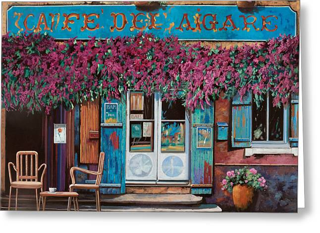 Brasserie Greeting Cards - caffe del Aigare Greeting Card by Guido Borelli