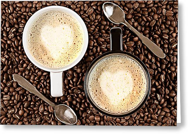 Kaffe Greeting Cards - Caffe Latte for two Greeting Card by Gert Lavsen
