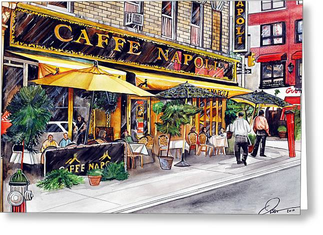 City Restaurants Greeting Cards - Caffe Napoli  Greeting Card by Dave Olsen