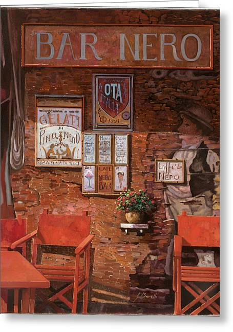 Brasserie Greeting Cards - caffe Nero Greeting Card by Guido Borelli