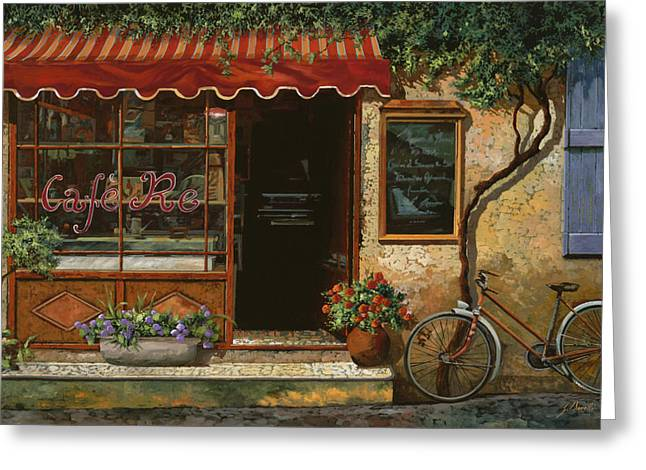 Street Scenes Paintings Greeting Cards - caffe Re Greeting Card by Guido Borelli