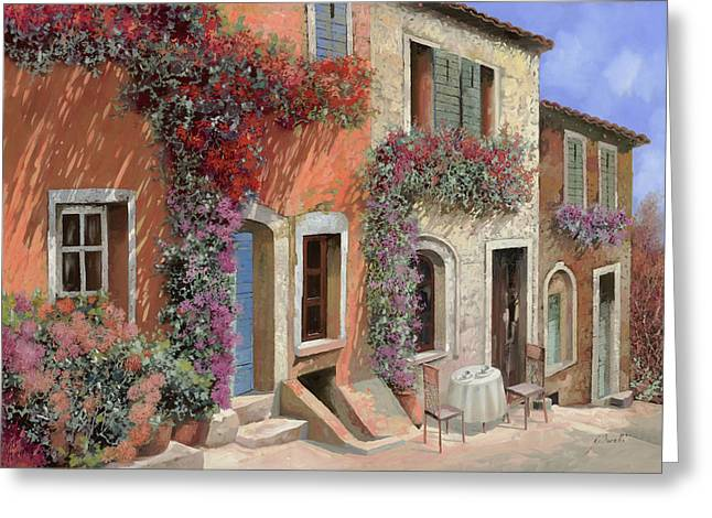 Streetscenes Paintings Greeting Cards - Caffe Sulla Discesa Greeting Card by Guido Borelli