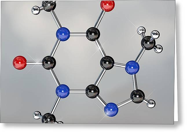 Molecular Model Greeting Cards - Caffeine Molecule Greeting Card by Miriam Maslo