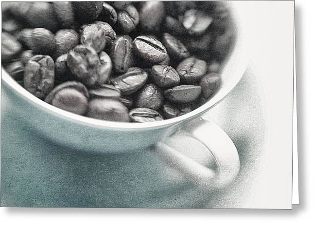 Wake Greeting Cards - Caffeine Greeting Card by Priska Wettstein