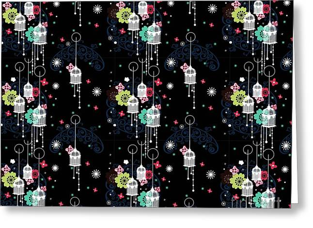 Overalls Tapestries - Textiles Greeting Cards - Cage of Dreams Greeting Card by Ankeeta Bansal