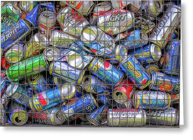 Pop Can Greeting Cards - Caged Cans Greeting Card by Randy Steele