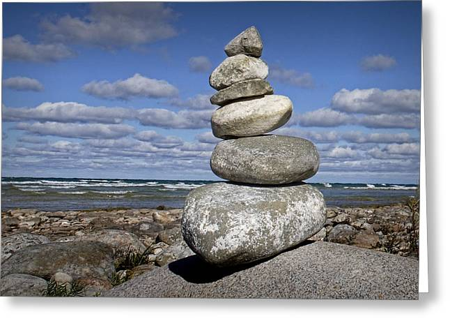 North Point Greeting Cards - Cairn at North Point on Leelanau Peninsula in Michigan Greeting Card by Randall Nyhof