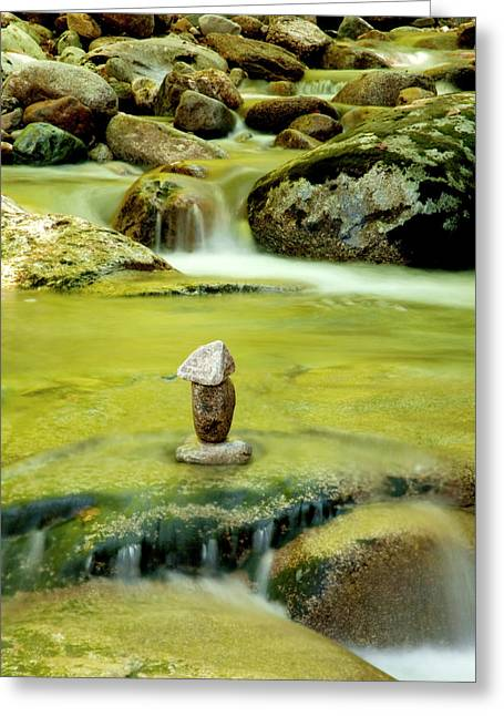 Moss Green Greeting Cards - Cairn Greeting Card by Greg Fortier