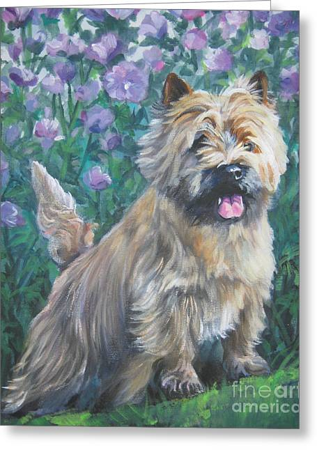 Cairn Terrier Greeting Cards - Cairn Terrier in the Flowers Greeting Card by Lee Ann Shepard