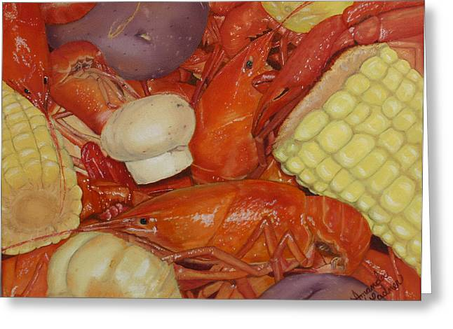 Mud Season Greeting Cards - Cajun Crawfish Boil Greeting Card by Amanda Ladner