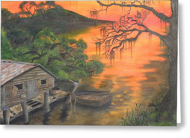 Cajun Drawings Greeting Cards - Cajun Sunset Greeting Card by Aaron Freeman