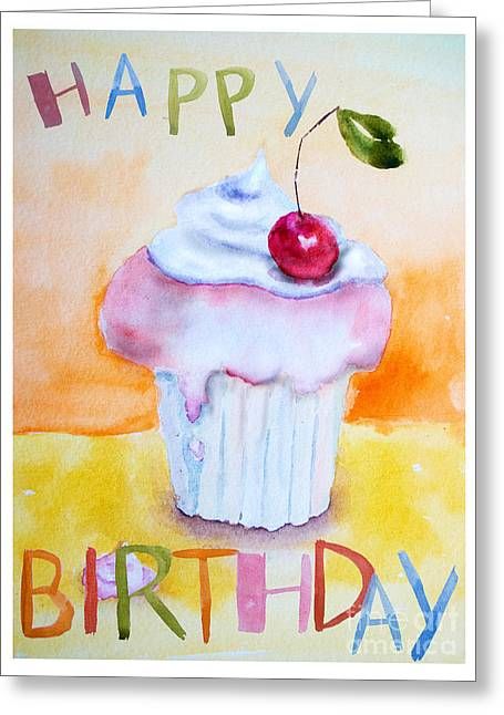 Menu Greeting Cards - Cake with insription Happy Birthday Greeting Card by Regina Jershova