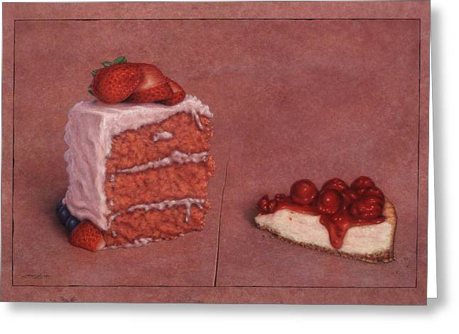 Strawberry Cakes Greeting Cards - Cakefrontation Greeting Card by James W Johnson